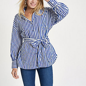 Blue stripe tie waist shirt