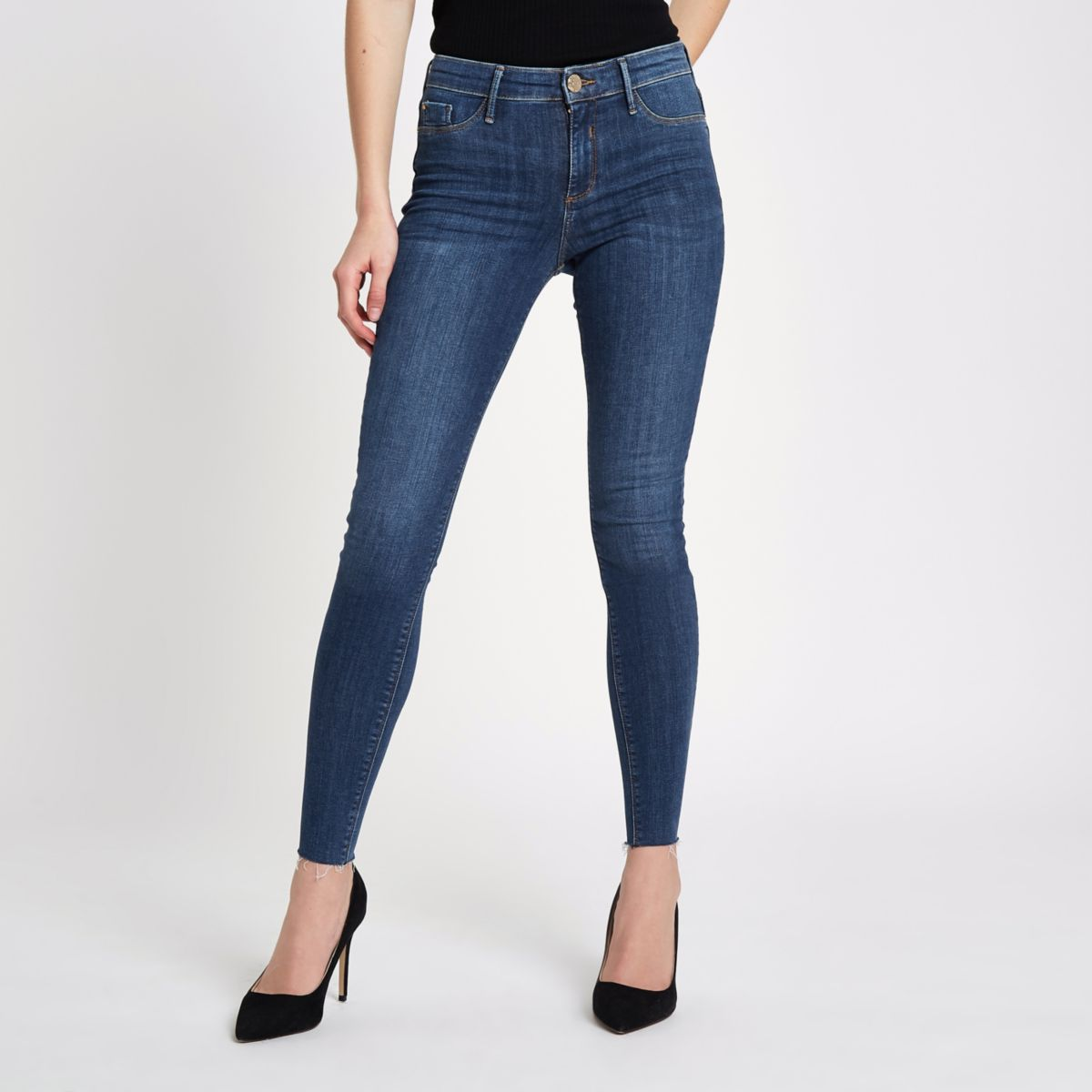 Mid blue Molly  frayed hem mid rise jeggings