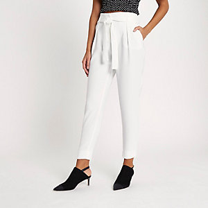 White tie waist tapered pants