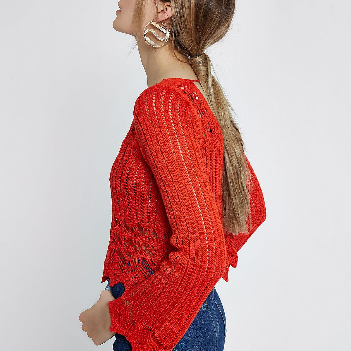 Red crotchet knit tassel crop top