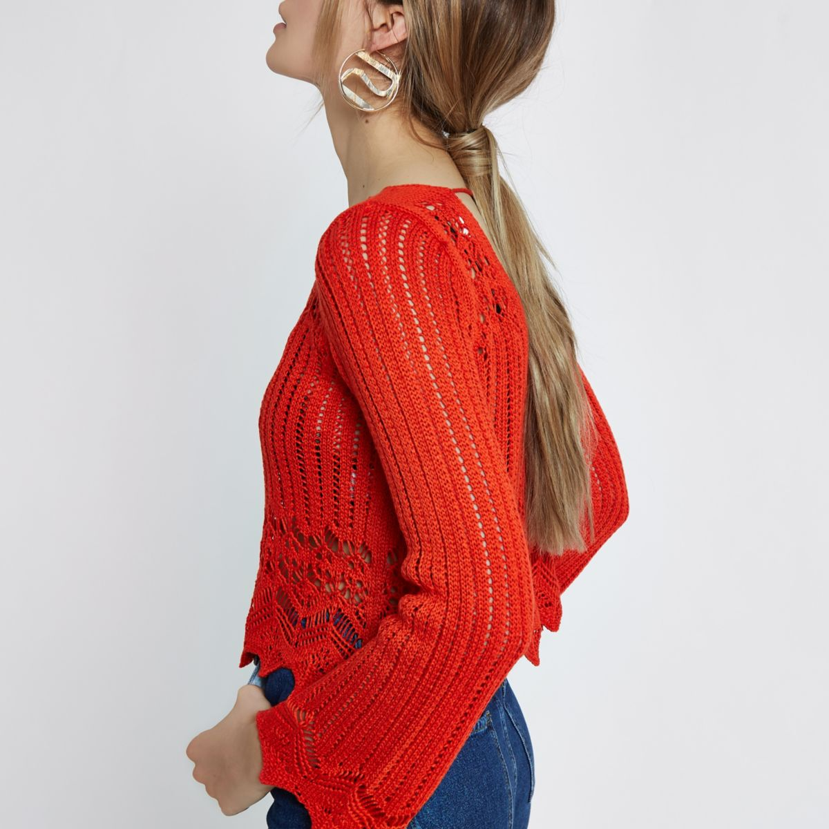 Red crotchet knit tassel crop top