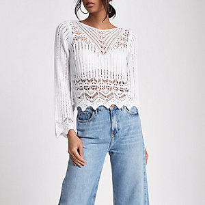 White crotchet knit tassel crop top