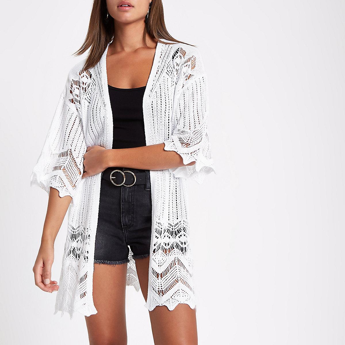 White crochet knit kimono sleeve cardigan