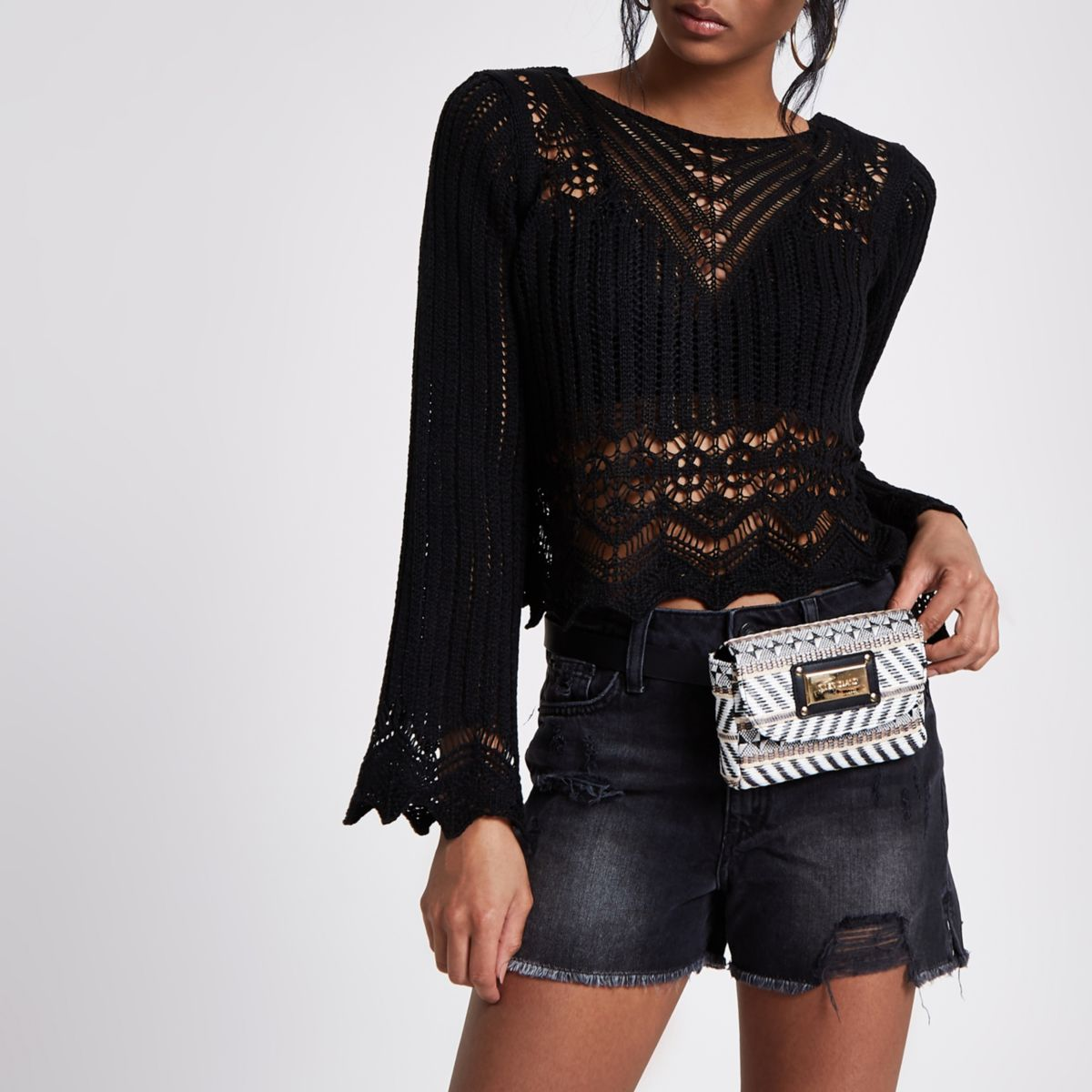 Black crochet knit long sleeve top