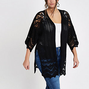 Plus black knitted crochet cardigan