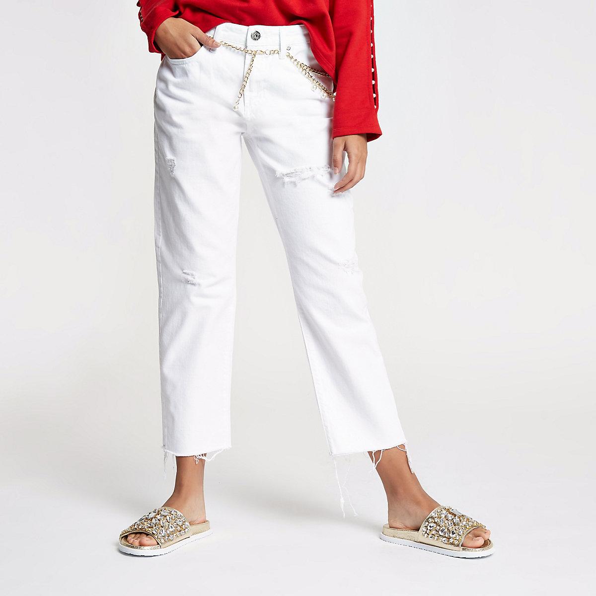 White boyfriend fit mid rise jeans