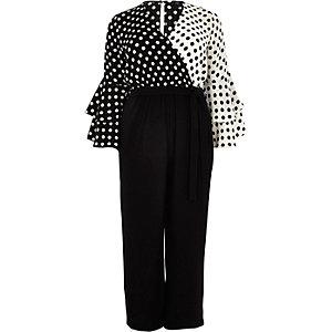 RI Plus - Zwarte jumpsuit met brede pijpen, overslag en stippen