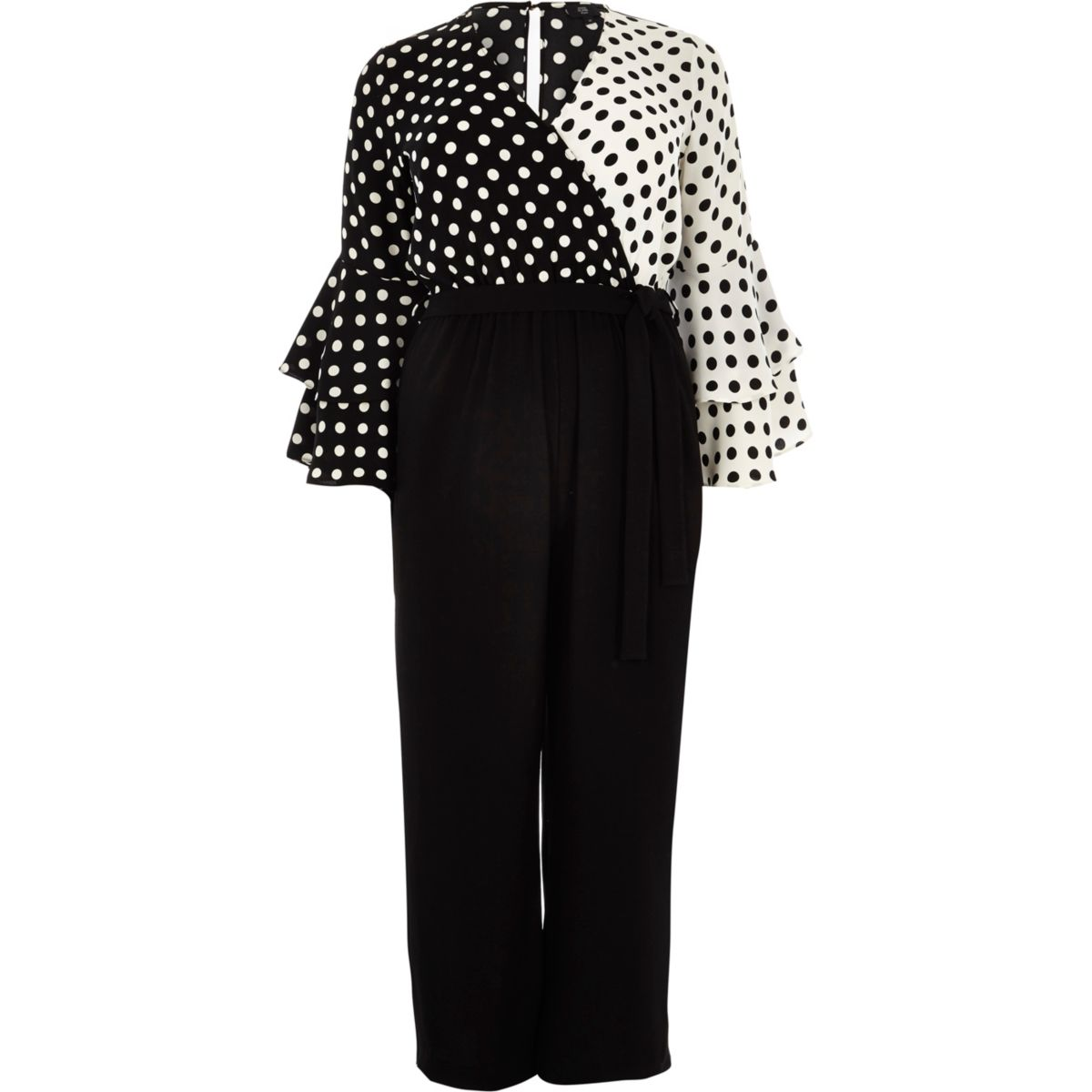 Plus black polka dot wrap wide leg jumpsuit