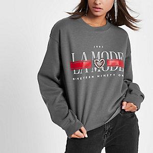 Grijs cropped sweatshirt met 'La mode'-print