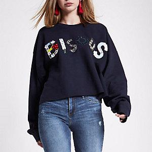 Navy 'bisous' embellished sweatshirt