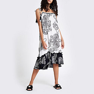 Black print tassel tie midi beach dress