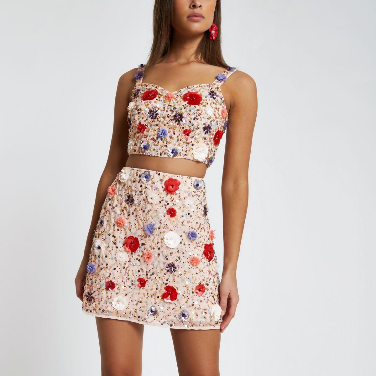 Pink sequin flower mini skirt