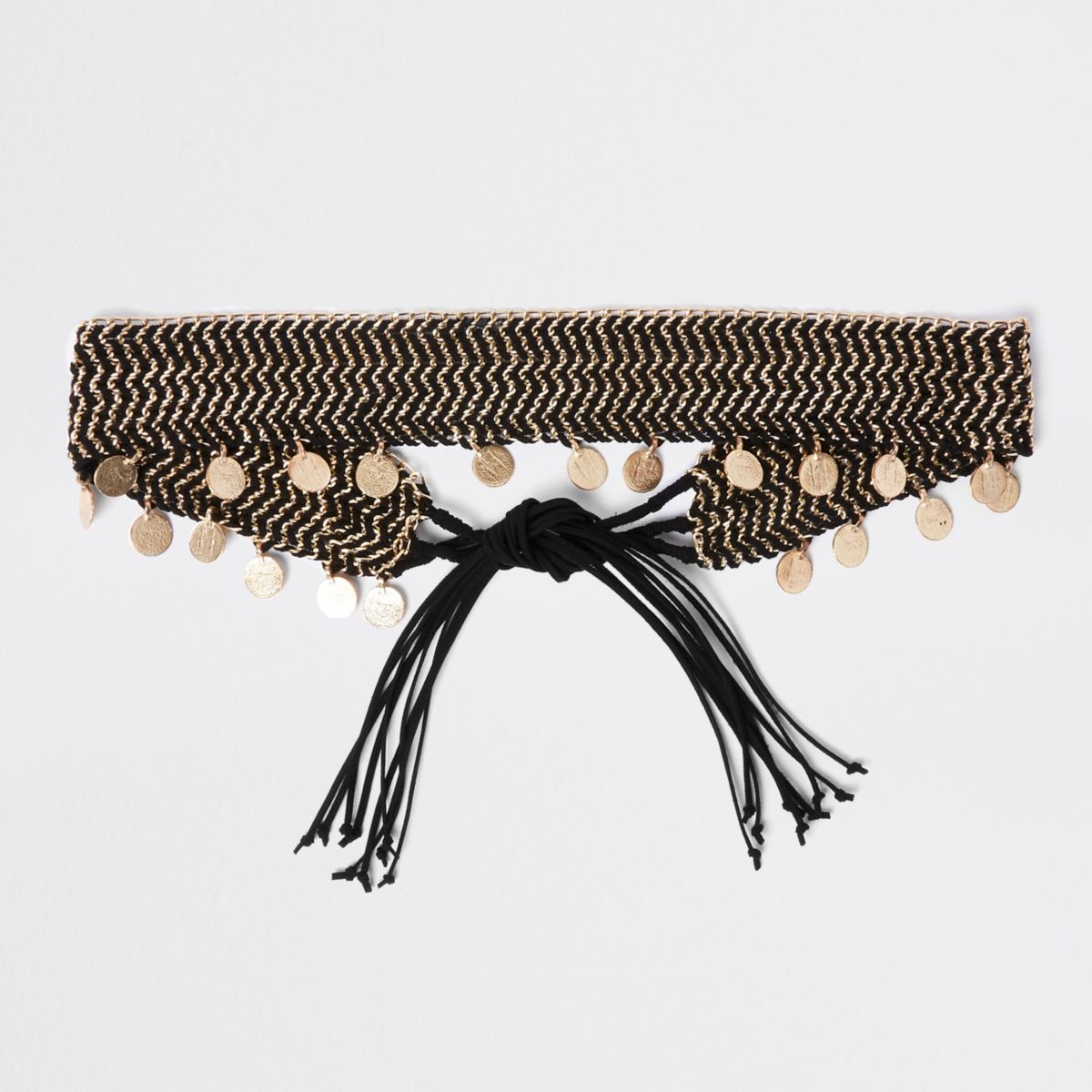 Black woven coin chain tie up belt