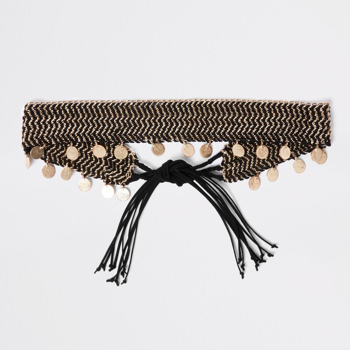 Zwarte geweven riem met ketting en munten