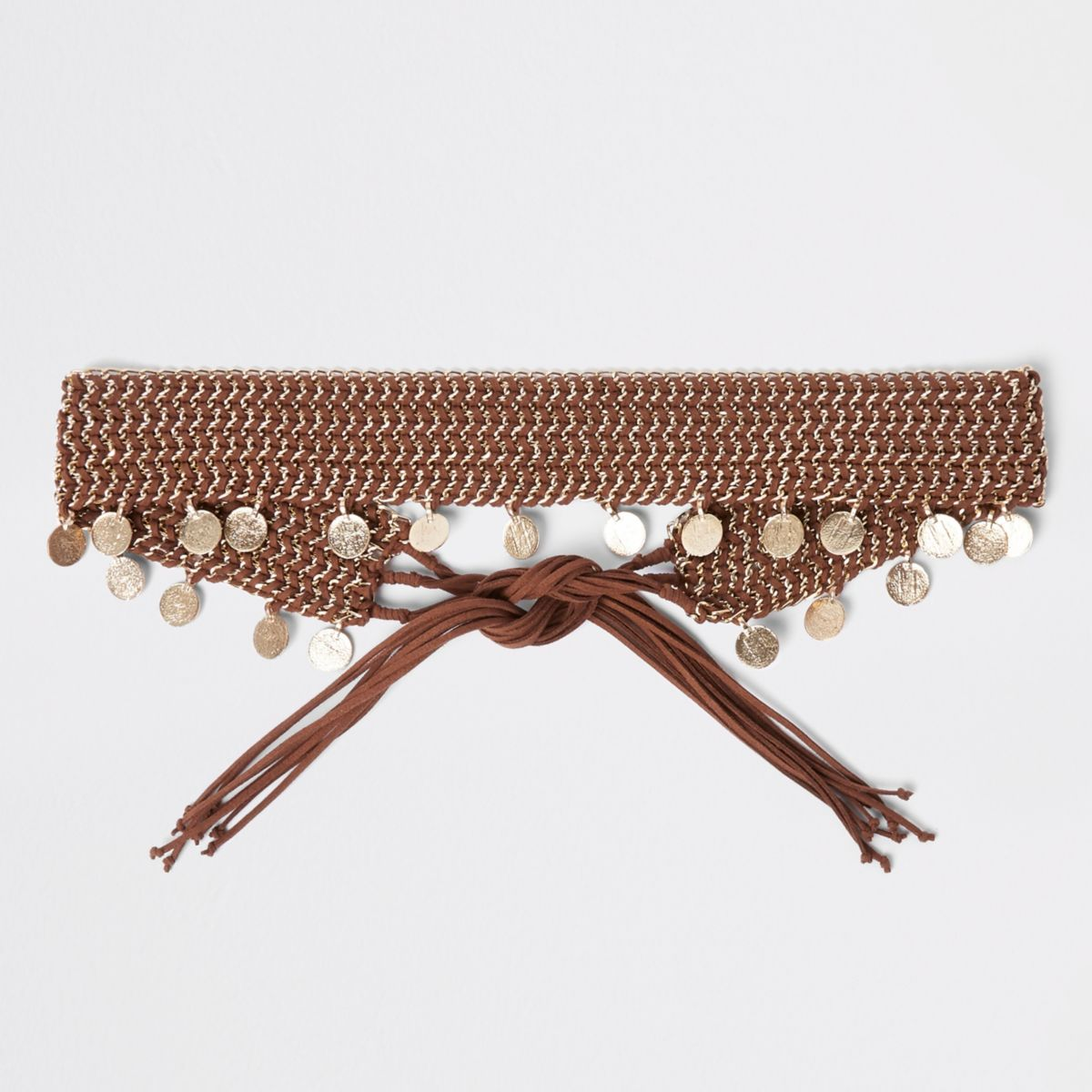 Brown woven coin chain tie up belt