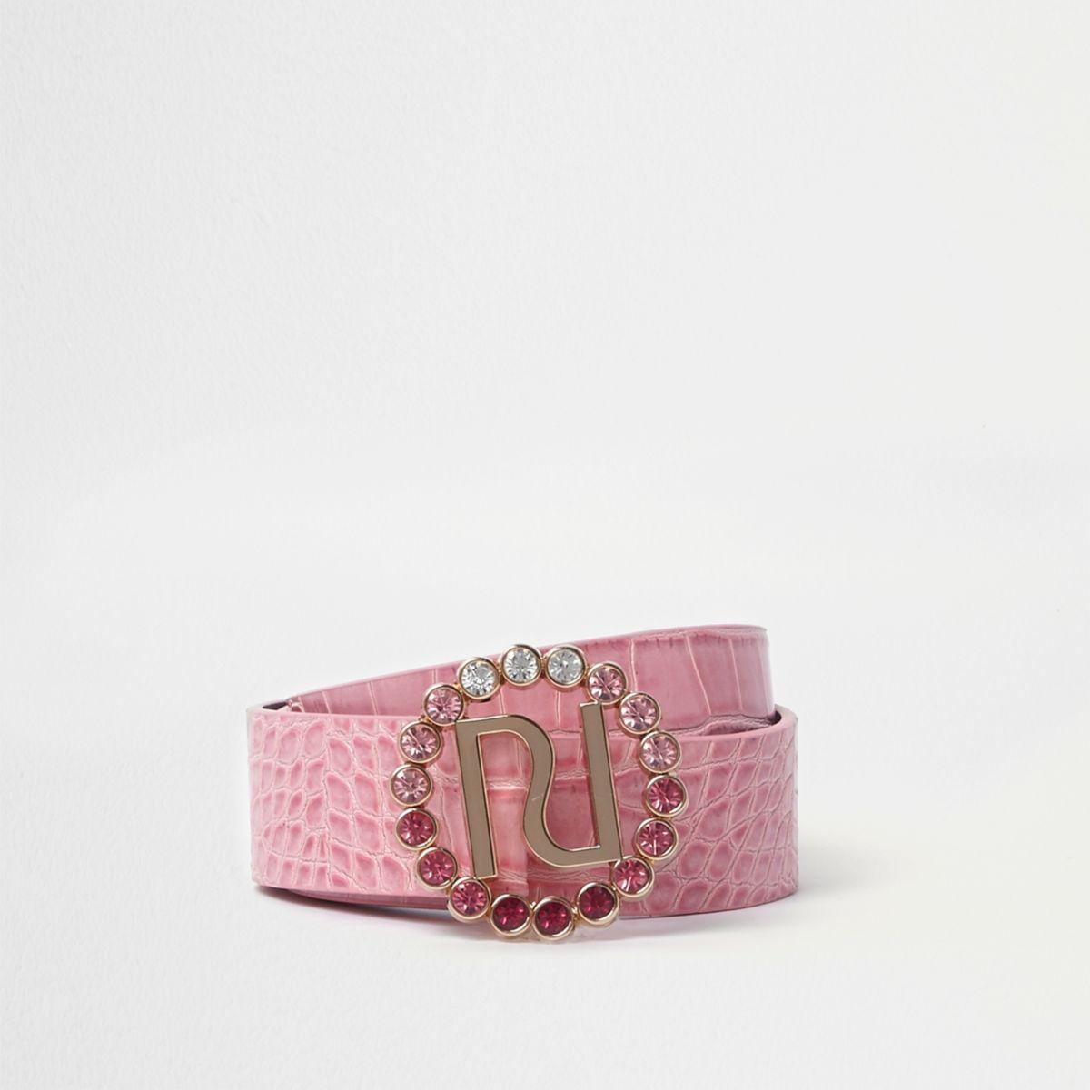Pink RI embellished buckle jeans belt
