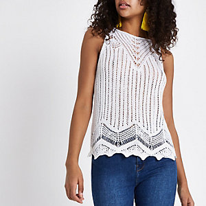 White crochet tank top