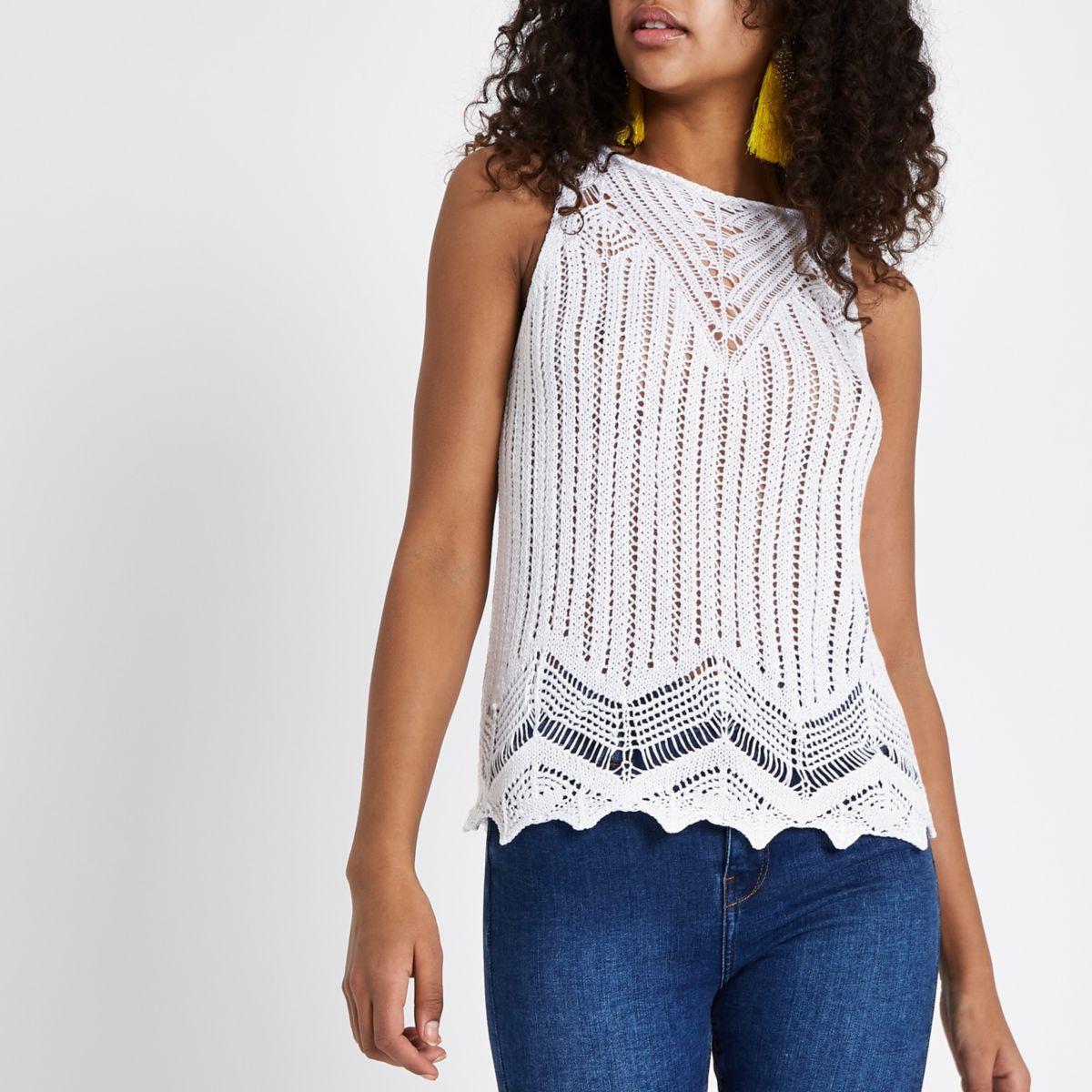 White crochet tank top