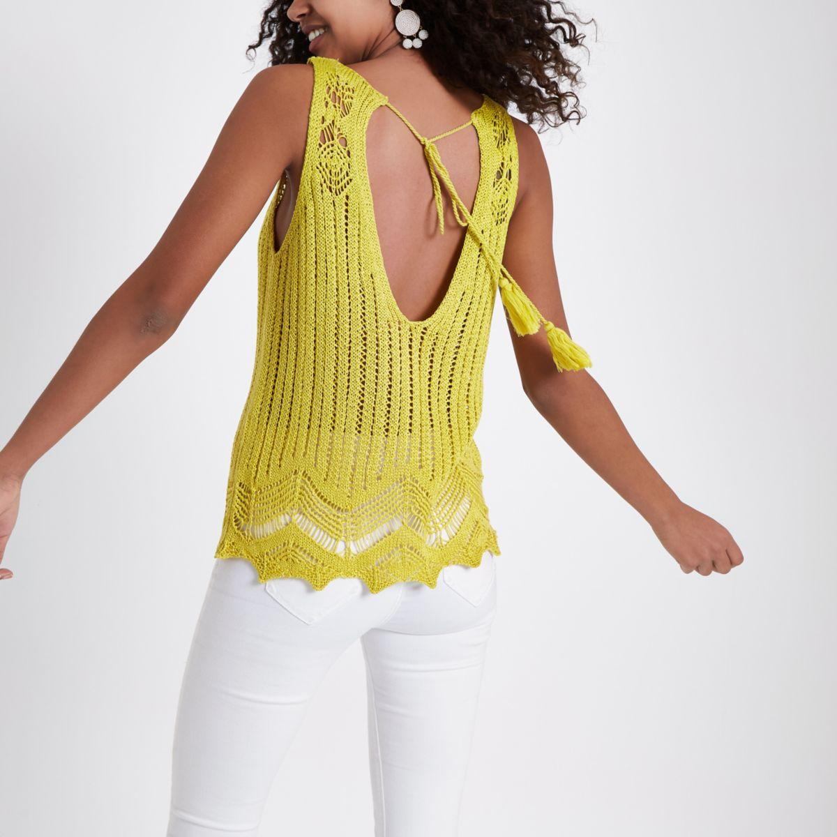 Yellow crochet knit tank top