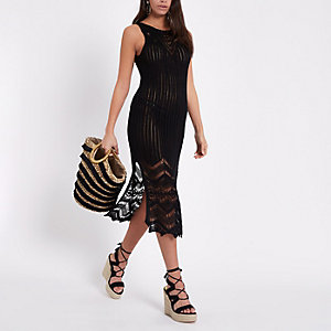 Black crochet maxi dress
