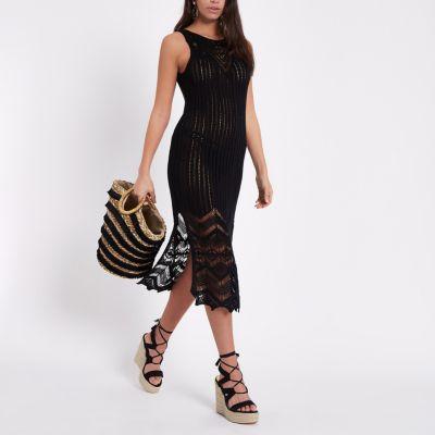 River island gold metallic knit maxi dress