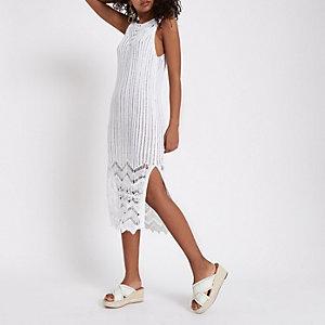 Witte gehaakte maxi-jurk met kwastjes