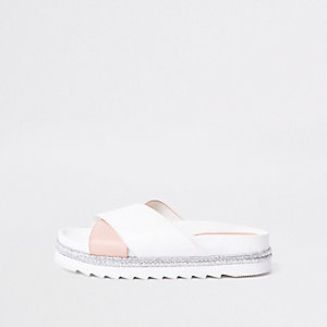 White cross strap espadrille slider