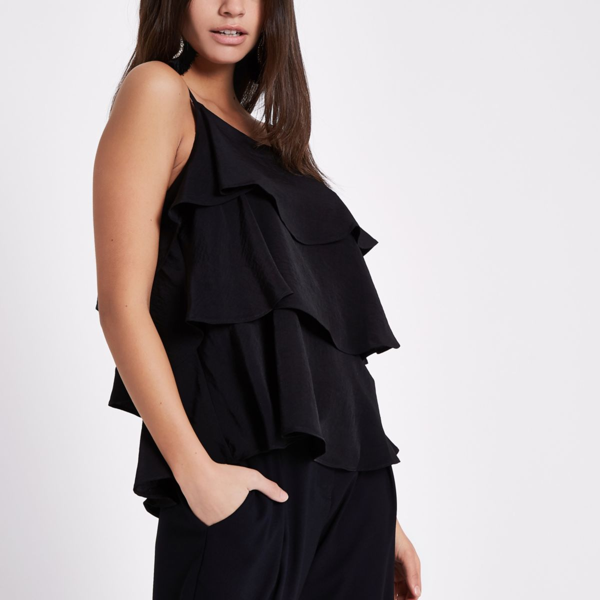 Black tiered frill cami top