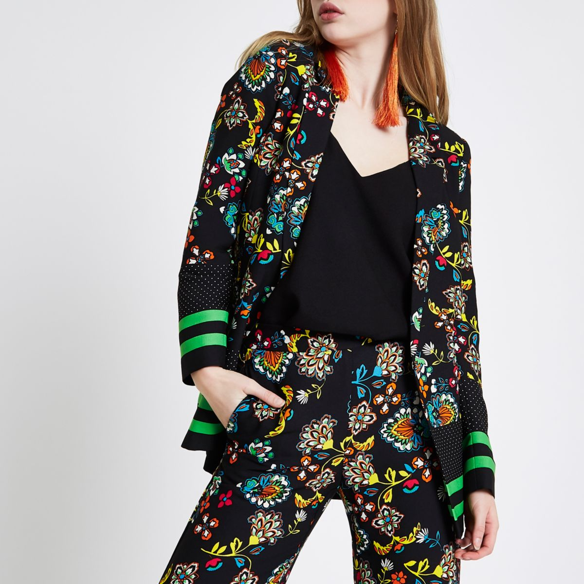 Black floral print longline blazer