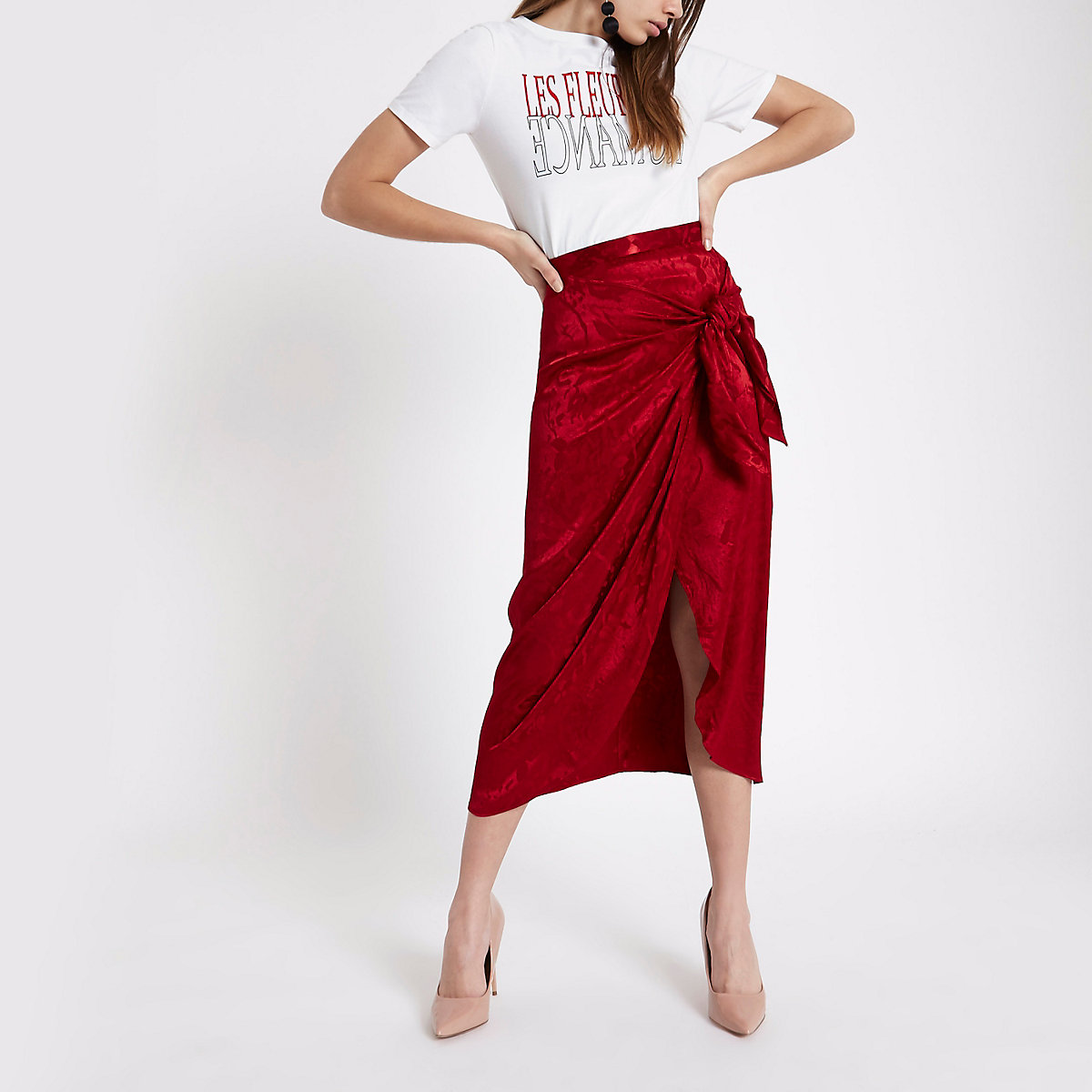 Red satin jacquard tie front pencil skirt