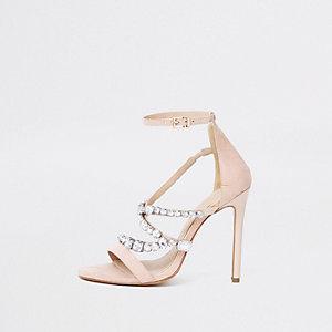 Sandales minimalistes roses à pierreries
