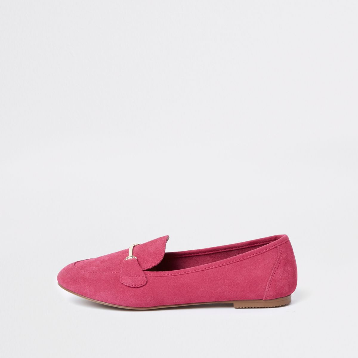 Pink wide fit suede snaffle loafers