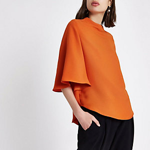 Orange loose fit frill sleeve top