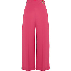Pink ring buckle culottes