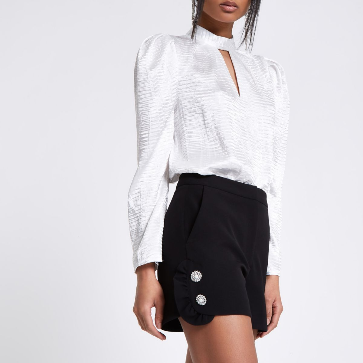 Black diamante pearl embellished frill shorts