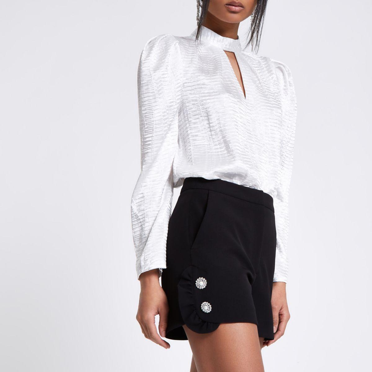 Black rhinestone pearl embellished frill shorts