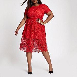 Rode kanten midi-jurk