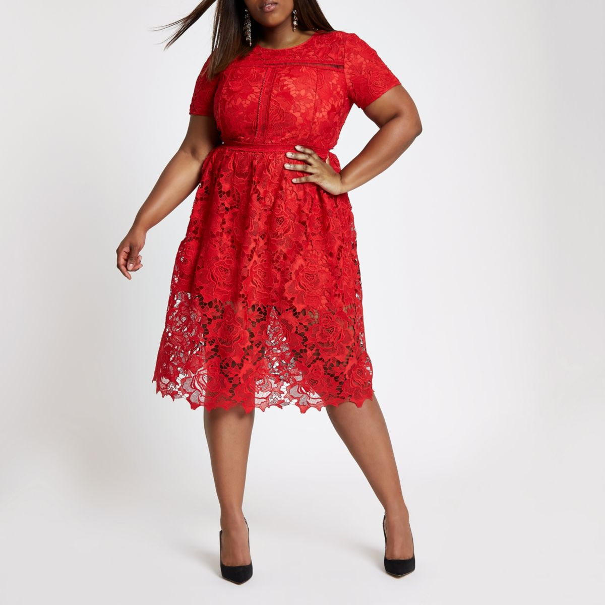 Red lace midi dress