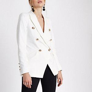 Weiße, zweireihige Tuxedo-Jacke