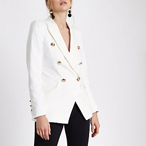 White double breasted tuxedo jacket