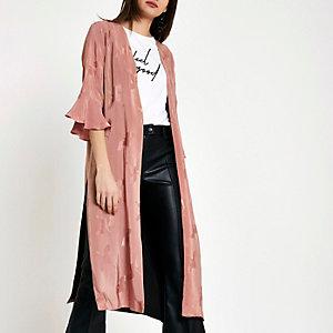 Pink bird jacquard duster coat