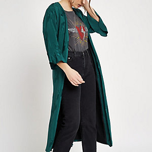 Green jacquard tie waist duster coat