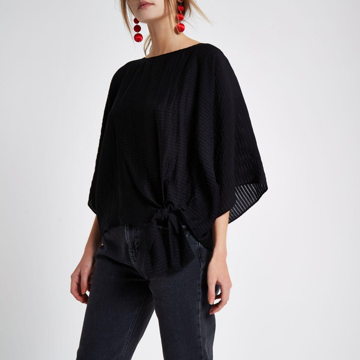 Black stripe knot side T-shirt