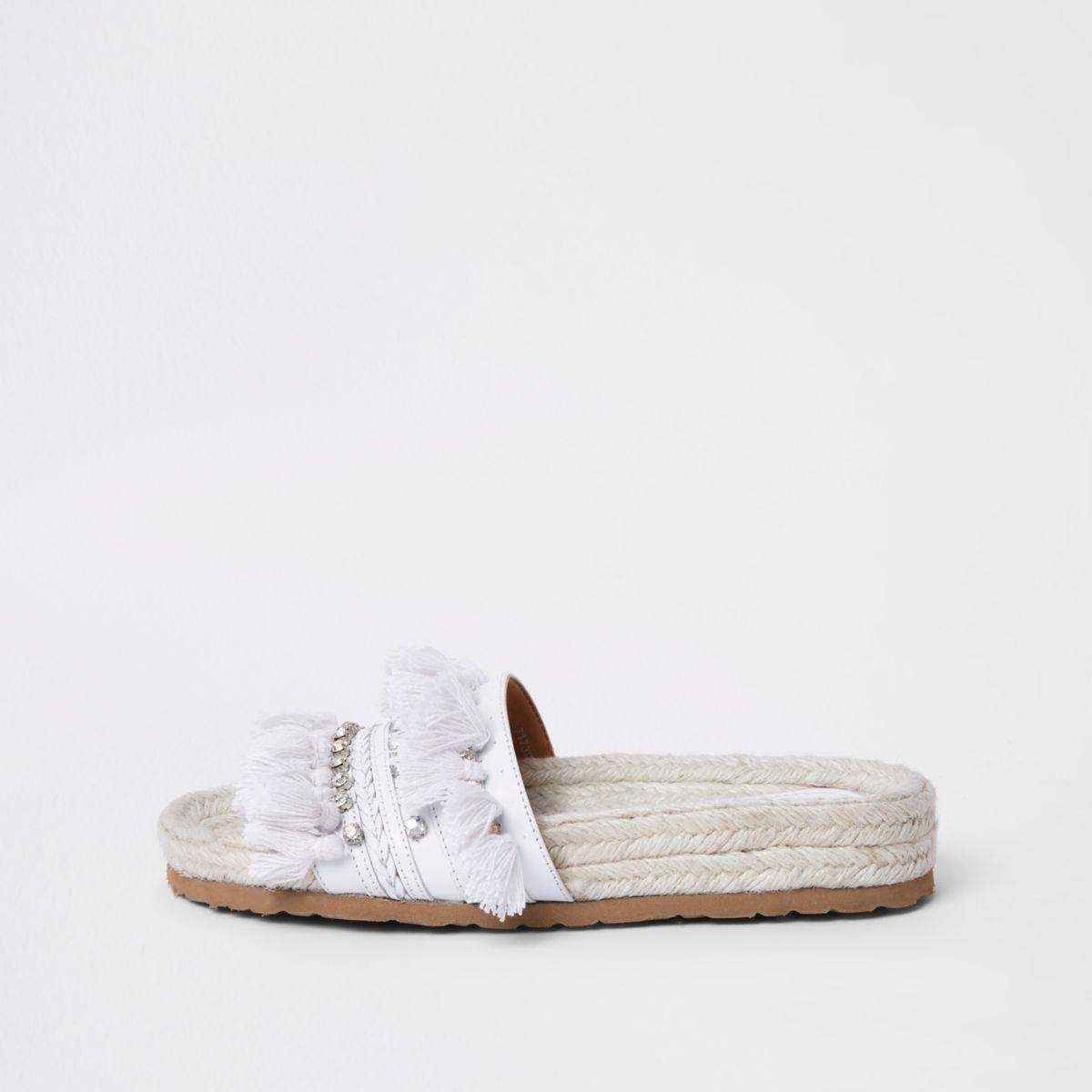 White diamante tassel sandal