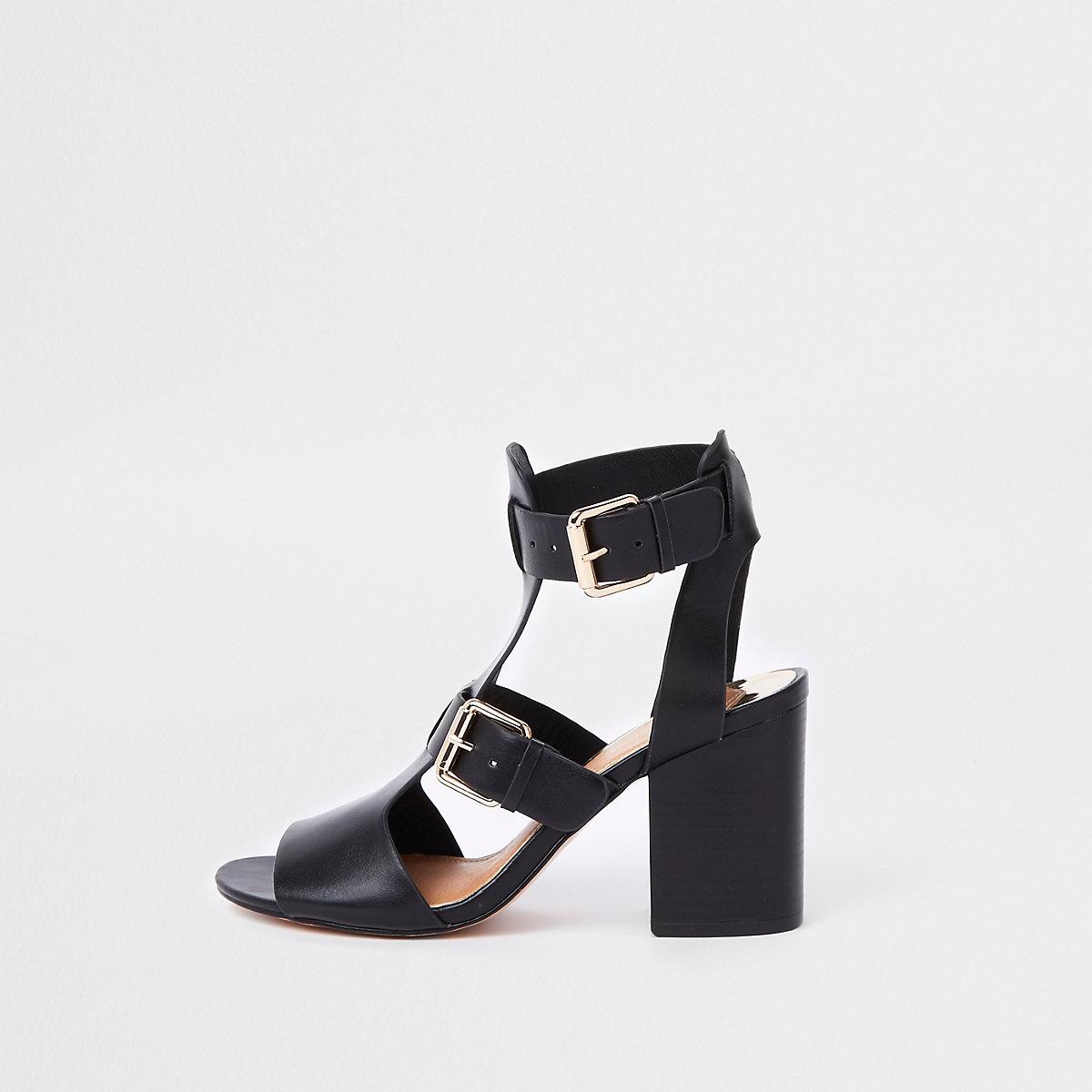 Black double buckle heels