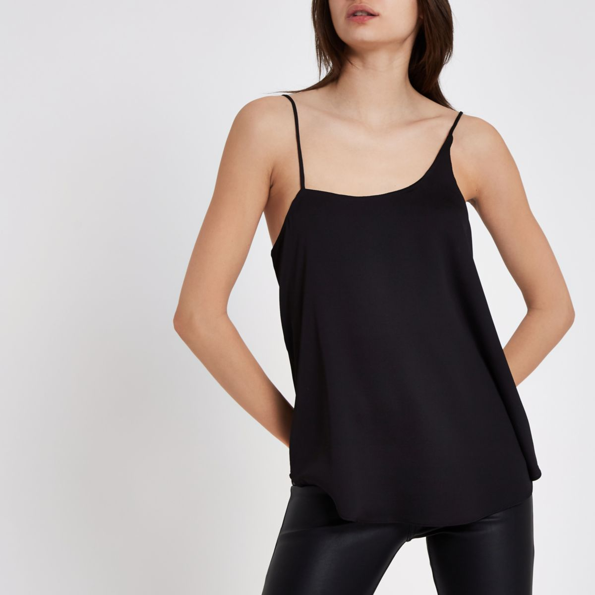 Black asymmetric neck cami top
