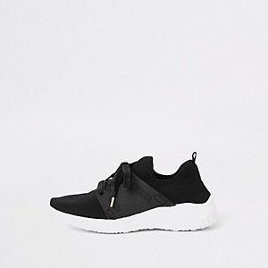 Black knit lace-up runner sneakers