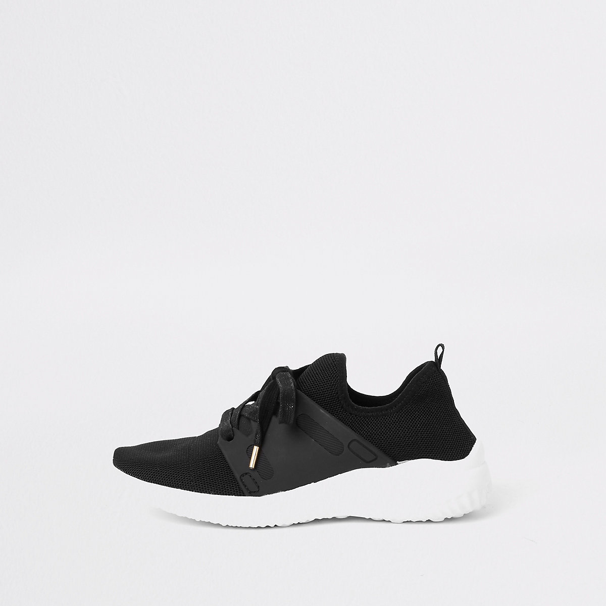 Black knit lace-up runner trainers