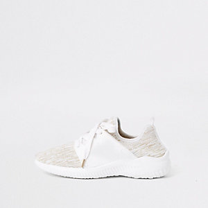 White knit lace-up runner trainers