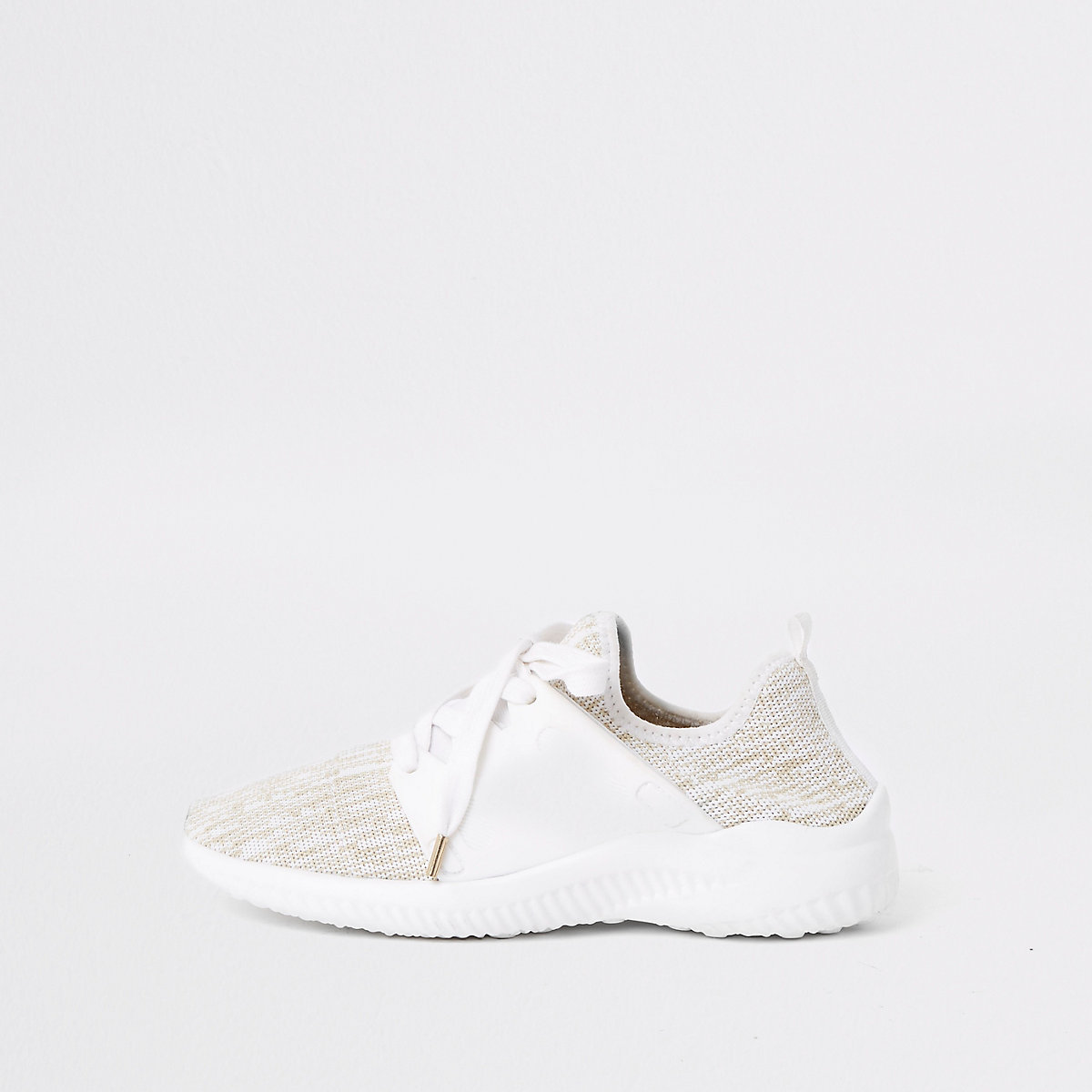 White knit lace-up runner sneakers